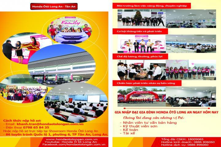 Honda Ôtô Long An tuyển dụng nhiều vị trí trong tháng 2