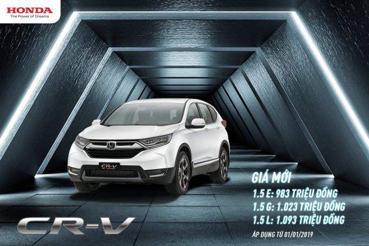 Công bố giá bán lẻ mới cho CR-V thế hệ thứ 5 áp dụng 1/1/2019